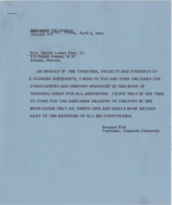 Kirk condolence telegram to coretta scott king