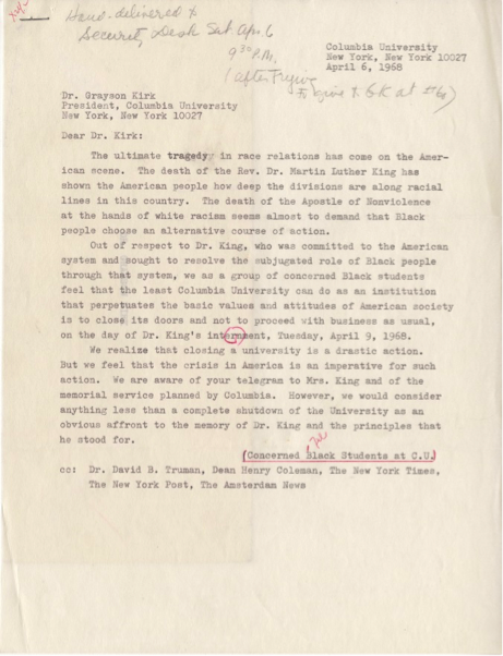 letter from Columbia Concerned black students to kirk