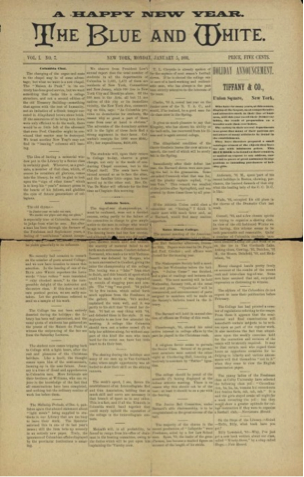 The Blue and White front page 1 January 1891 issue