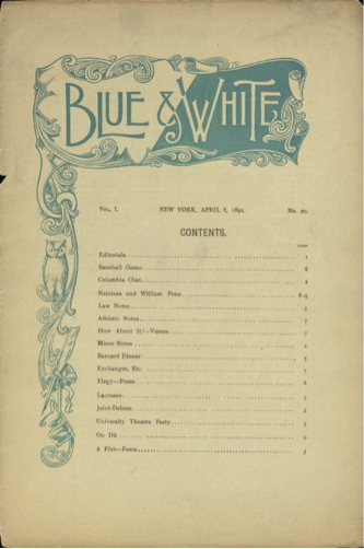 The Blue and White index 8 April 1891 issue