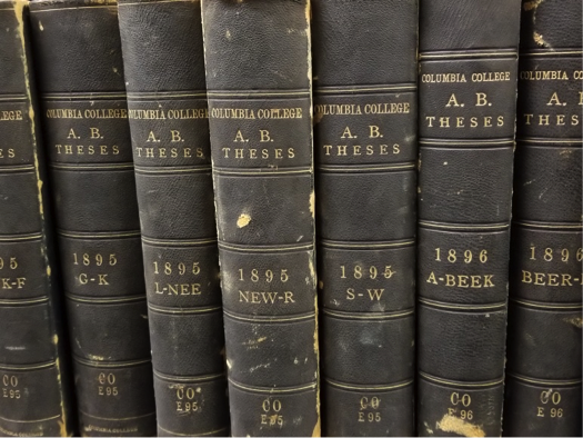 book spines of Columbia AB theses
