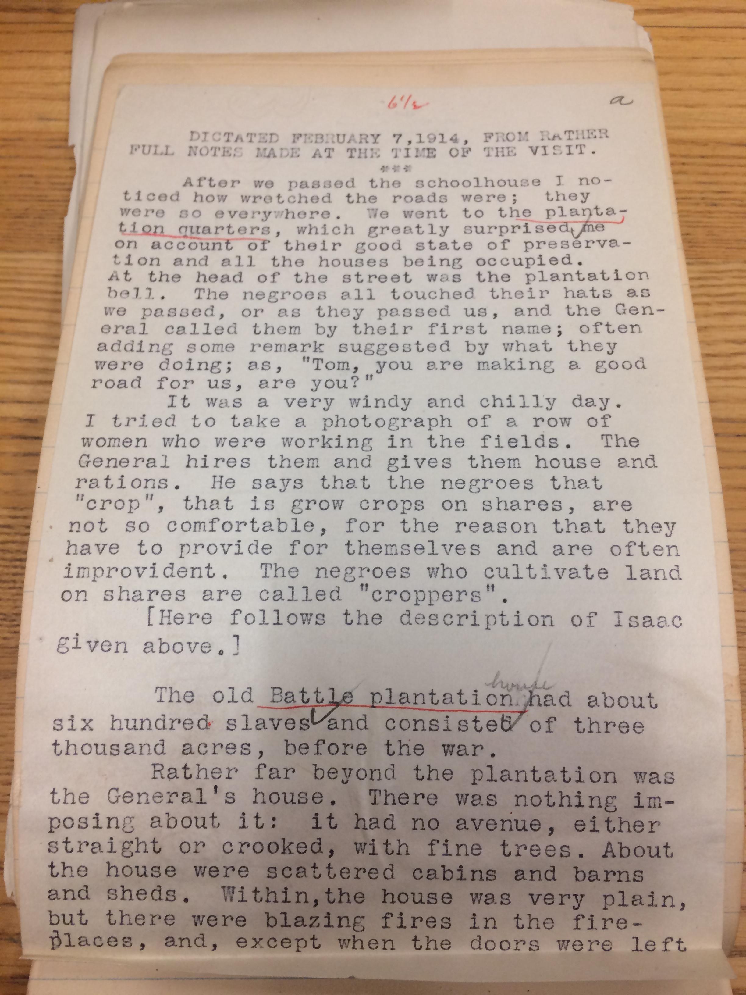 Bancroft entry about plantation