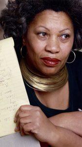 Morrison holding manuscript