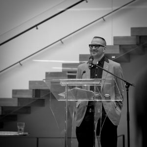 Cory Doctorow at lecture podium
