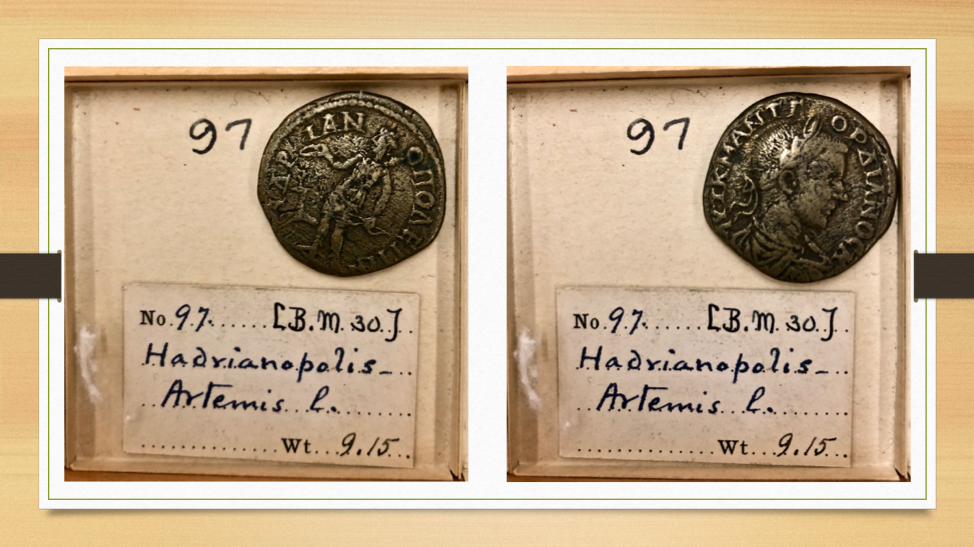 roman coins in tray with written labels