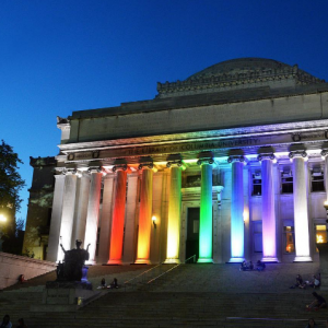Low Library lit up with rainbow colored lights