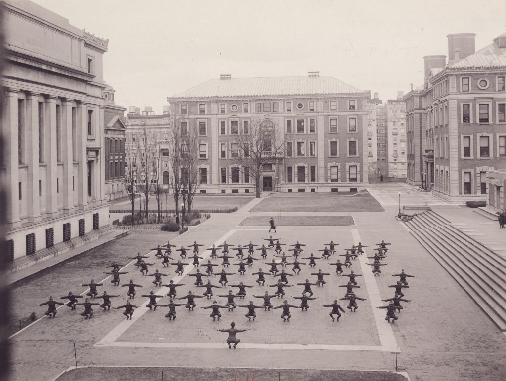 World War I soldiers exercising on Columbia's campus