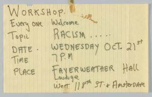 Anti-Racism Workshop Flyer, 1970.