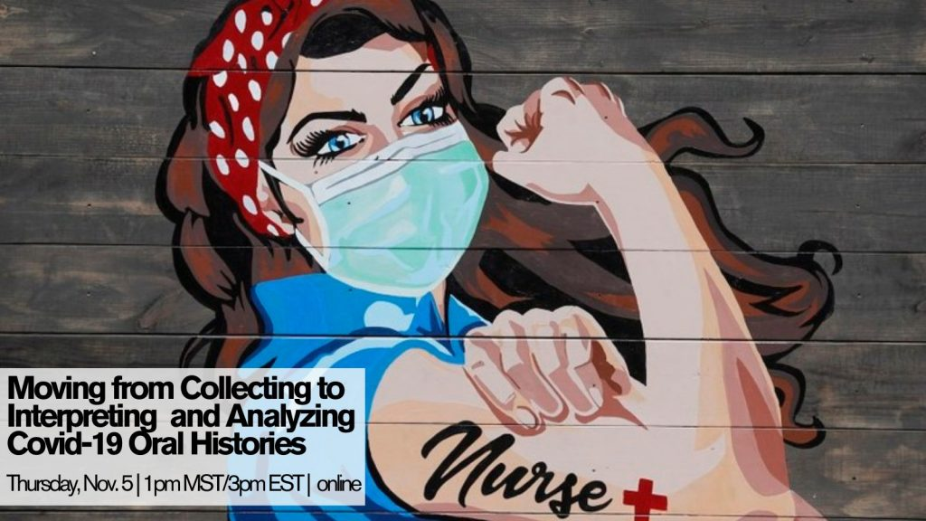 masked woman wearing bandana in hair and surgical mask with tattoo that says nurse