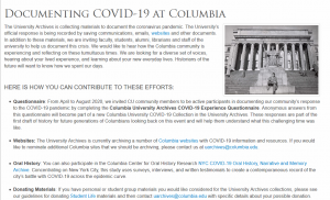 Documenting COVID-19 at Columbia screenshot