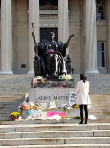 Justice Ruth Bader Ginsburg memorial at Alma Mater statue