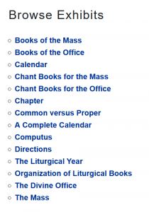 A list of Exhibits on the Liturgical Books site