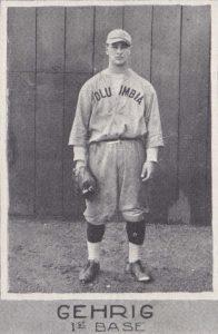 Lou Gehrig in Columbia baseball uniform, 1923