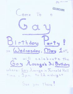 """Flyer """"Come to a Gay Birthday Party on Wednesday, May 1st, we will celebrate the Gay Lounge's 3rd Birthday."""""""