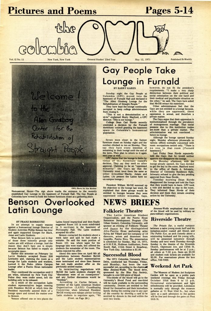 """Frontpage of the Columbia Owl, May 12, 1971. Headline """"Gay People Take Lounge in Furnald."""""""