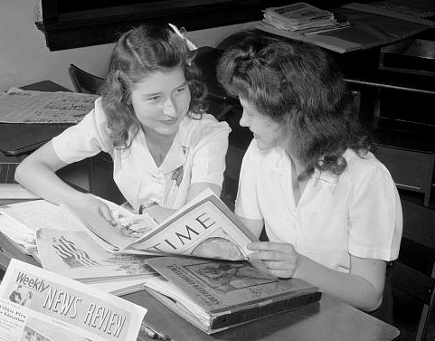 Students Reading Periodicals