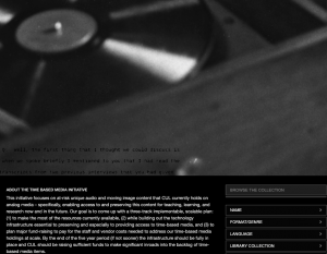 Screenshot of the Time-Based Media Initiative landing page at the Columbia Digital Library Collections site
