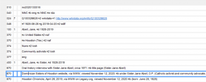 View of the editing interface in OCLC Connexion for the authority record for Jane Abell