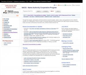 Screenshot of NACO program home page