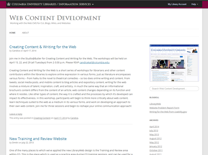 Screenshot of new CUL Blogs Theme